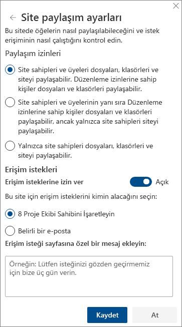 Site paylaşım ayarları panelinin ekran görüntüsü.