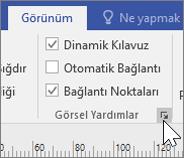Dinamik Kılavuz ve Bağlantı Noktaları'nın seçili olduğu Görünüm seçeneklerinin ekran görüntüsü