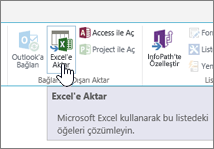 Şeritte vurgulanmış SharePoint Excel'e Aktar düğmesi