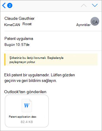 Güvenlik ipucu: Office 365'le bu iletiyi şirketiniz korumalı.