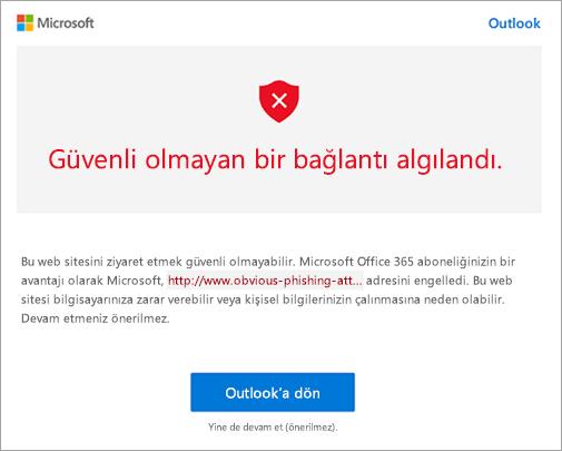 Güvenli olmayan bağlantı uyarısı ekran görüntüsü