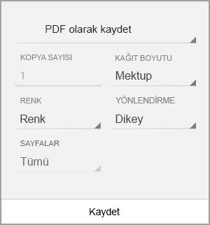 PDF olarak kaydetme