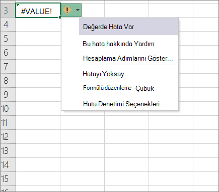 İzleme değeri simgesinin yanında gösterilen aşağı açılan liste