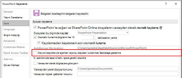 PowerPoint Seçenekleri iletişim kutusunun ekran görüntüsü, klavye kısayollarıyla kaydederken Backstage 'i kullanmayın
