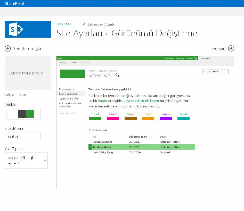 SharePoint yayımlama sitesinin rengini, düzenini ve temasını değiştirme