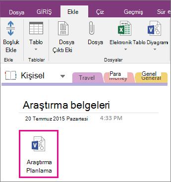 OneNote 2016'daki bir sayfaya Visio dosyası ekleme işleminin ekran görüntüsü.