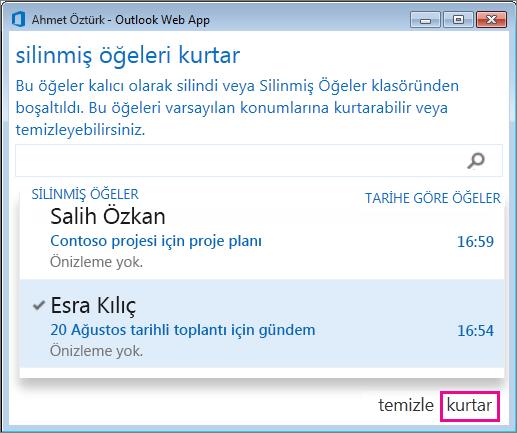 Outlook Web App 'Silinmiş öğeleri kurtar' iletişim kutusu