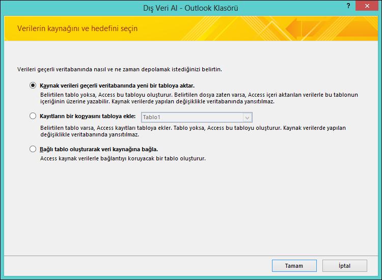 Outlook klasörünü içeri aktarmayı, sona eklemeyi veya dosyaya bağlanmayı seçin.