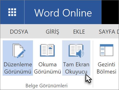 Görünüm sekmesini seçerek eğitim araçları Word Web App'te açma