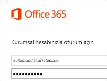 Office 365 portalı oturum açma ekranı