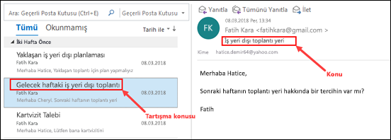 Outlook, iletileri ileti listesinde konuşma konu başlığına göre gruplar.