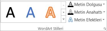 WordArt Stilleri grubu