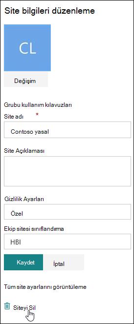 SharePoint sitesi bilgi bölmesi