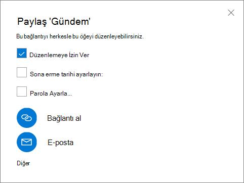 Paylaş iletişim kutusunu gösteren ekran görüntüsü