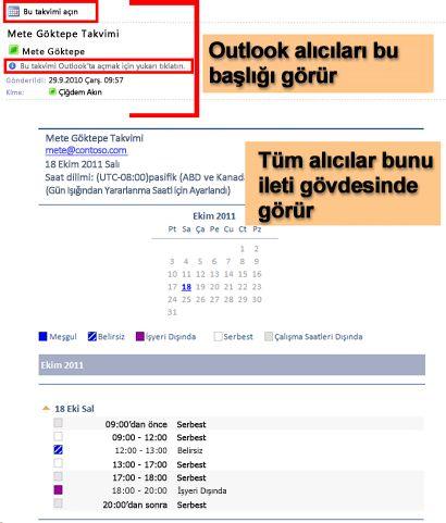 E-posta Takvim özelliği kullanılarak alınmış bir takvim örneği