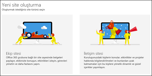 SharePoint Online'da site türü seçme