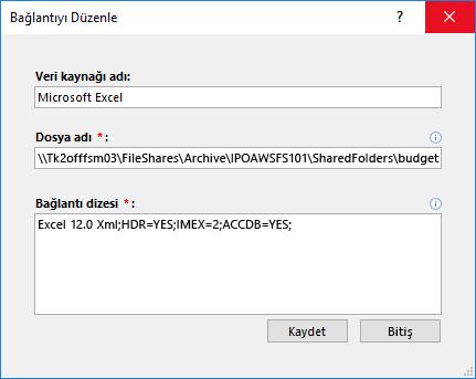 Excel veri kaynağına bağlantı Tanımla iletişim kutusu