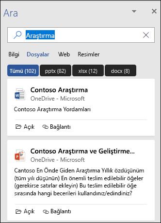 Arama sırasında bulunan dosyaları gösteren arama bölmesi