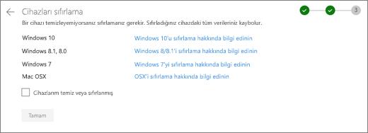 OneDrive Web sitesinde kalan aygıtları ekranının görüntüsü