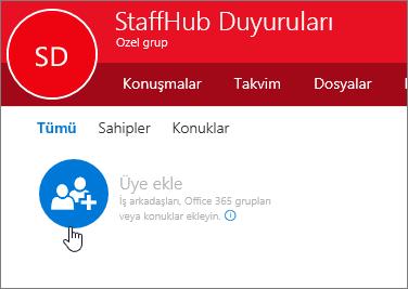 Outlook'ta StaffHub grubuna üye ekleyin.