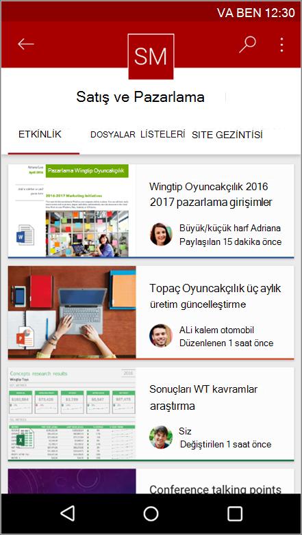 Android mobil uygulaması site etkinliğini, dosya, listeleri ve gezinti gösteren ekran görüntüsü