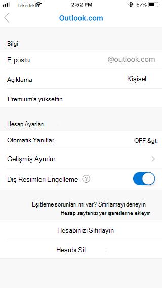 Outlook Mobile'da dış resimleri engelleme