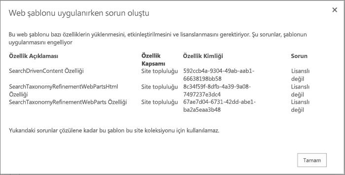 Kullanılamayan özellikler SharePoint Online'da site oluşturmayı engellediğinde alabileceğiniz hatanın gösterildiği hata iletisinin ekran görüntüsü.