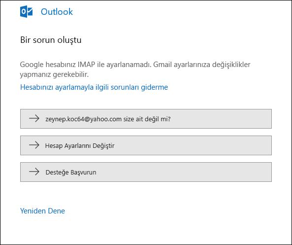 Outlook'ta bir e-posta hesabı eklenirken bir sorun oluştu.