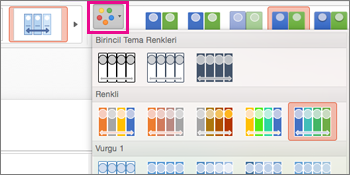 zaman çizelgesinin renk düzenini değiştirme