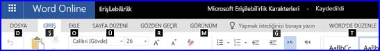 WordOnline Düzenleme görünümünde Erişim tuşlarının gösterildiği şerit