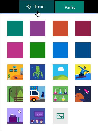 Microsoft Forms için Tema Galerisi.