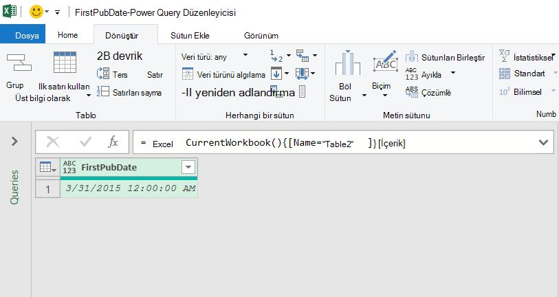 Power Query düzenleyicisinde yüklenen Excel tablosu verileri