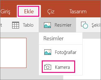 Windows 10 için Office Mobile 'da kameradan resim ekle seçeneğini gösterir