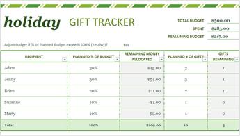 Excel 'de tatil hediye listesi şablonunun görüntüsü