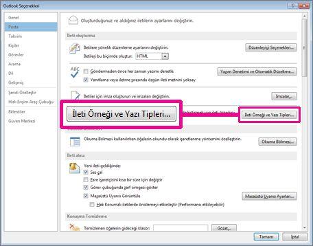 Outlook Seçenekleri iletişim kutusunda İleti Örneği ve Yazı Tipleri komutu
