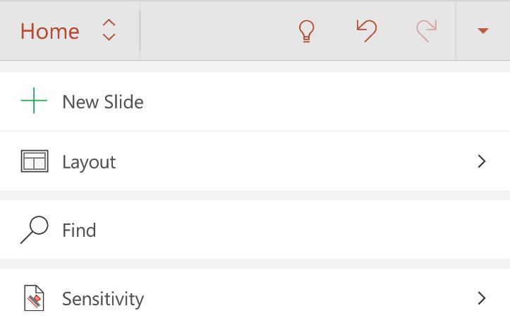 Android Şeridin Giriş sekmesindeki duyarlılık menüsü
