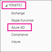 Office 365 Yönetici menüsünü gösterir. Azure AD olan üçüncü seçeneği belirleyin.