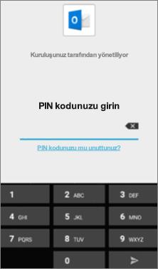 Android cihazınızda Office uygulamalarına erişmek için PIN girin.
