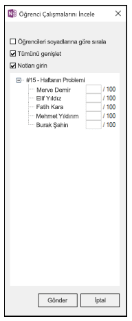 Öğrenci adlarının listesi ve 100 üzerinde puan değerleri için boş bırakılmış alanları olan Öğrenci Çalışmalarını Gözden Geçir bölmesi.