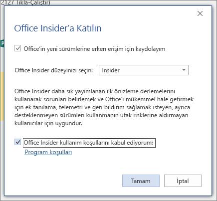 Office Insider 'a katılma iletişim kutusu