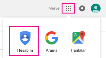 Google Apps'i ve ardından Hesabım'ı seçin