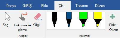 Office 2016'nın Çiz sekmesindeki kalemler ve vurgulayıcılar