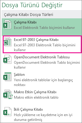 Excel 97-2003 Çalışma Kitabı biçimi