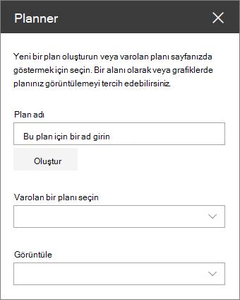 Web bölümü araç Planlayıcısı