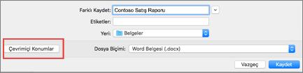 Dosyayı Kaydet iletişim kutusunda Mac için Word 2016 daire içinde çevrimiçi konumlar düğmesi