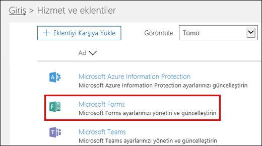Microsoft Forms yönetici ayarları