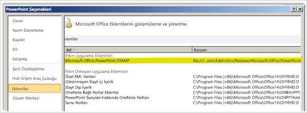 STAMP eklentisinin vurgulandığı PowerPoint Seçenekler, Eklentiler ekranı