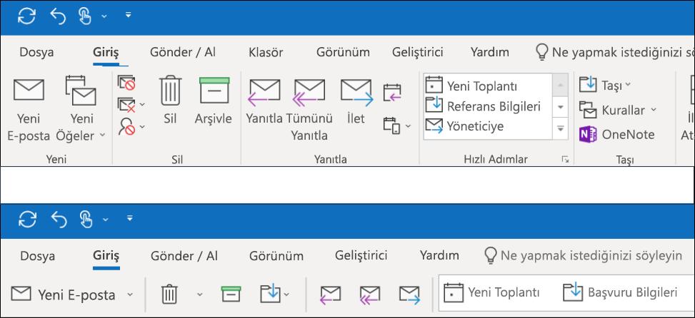 Artık Outlook 'ta iki farklı şerit deneyimlerinden birini seçebilirsiniz.