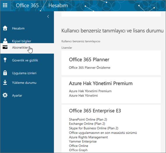 Office 365 Abonelikler sayfası