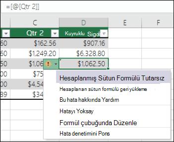 Excel tablosunda tutarsız formül hata bildirimi